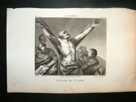 After Calabresse C1810 Antique Print. Martyre De St. Andre